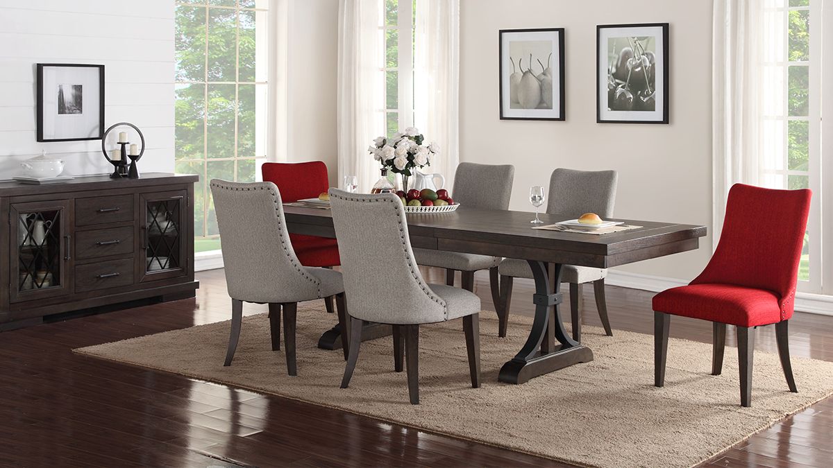 Red Living Room Chair Monte Carlo Dining Set Dining Table 4 Side Chairs Red 80784296