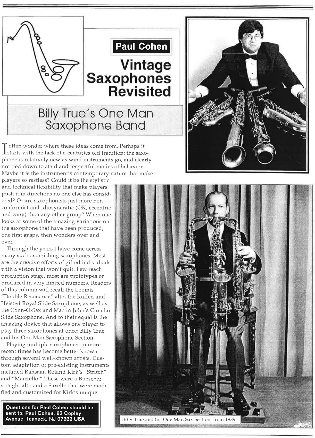"""""""Billy True's One Man Saxophone Band"""" By Paul Cohen"""