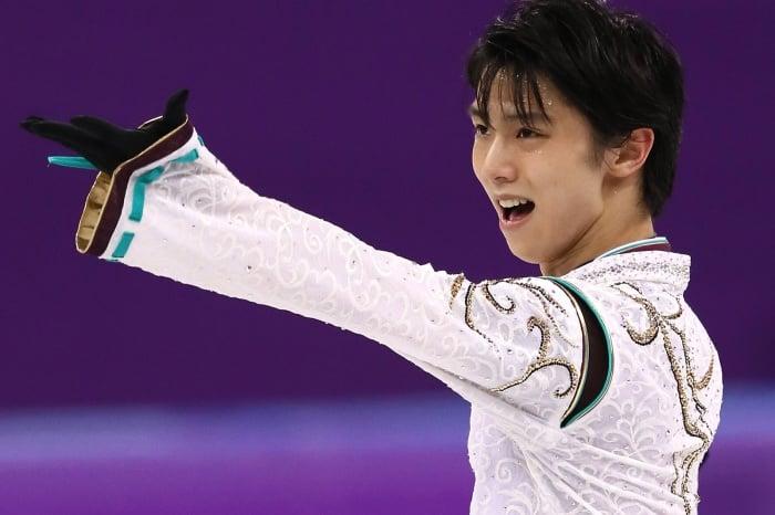 Yuzuru Hanyu en la rutina que ganó la medalla de oro