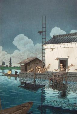 Lluvia en Ushibori - Hasui Kawase