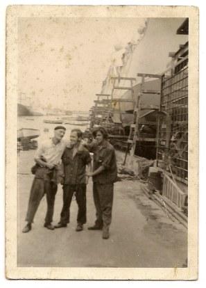 Antiguos varaderos de Santa Catalina (Bazán). Primero por la izq Bernardo Morales, centro Florencio Perera, Juanillo El Ñamero, finales de 1960