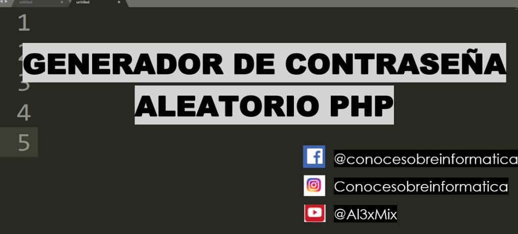 GENERADOR DE CONTRASEÑA ALEATORIO PHP