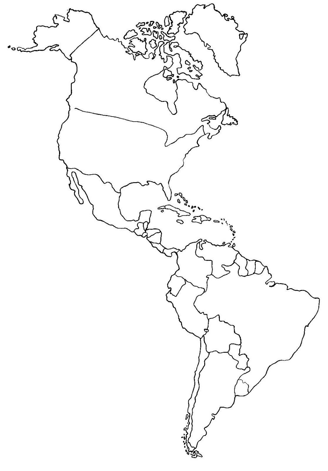 Mapa Fisico De America Para Colorear