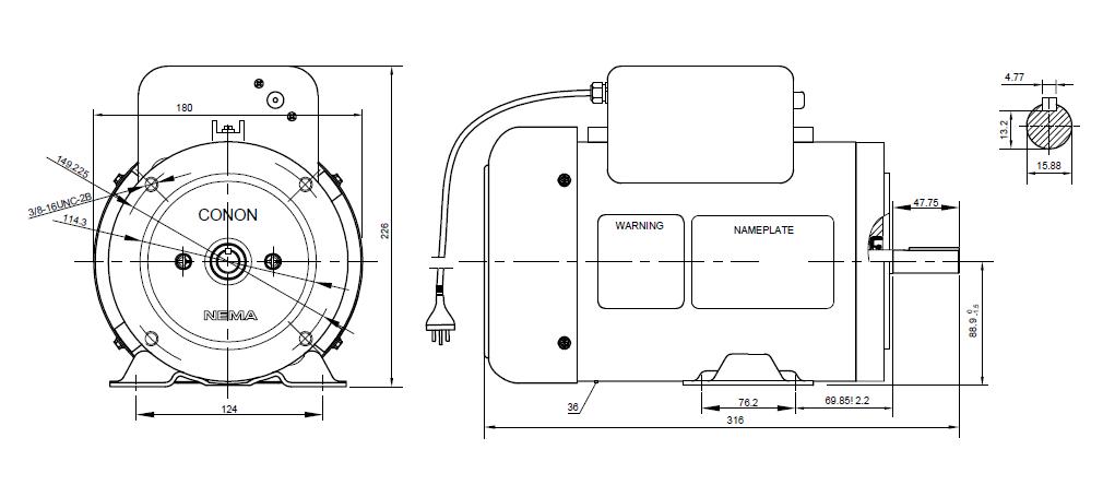 NEMA Electric Motor Single phase 0.37kw 0.5hp 1400rpm