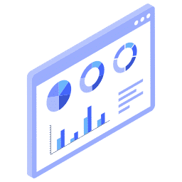 isometric analytics browser graphs stats window  icon