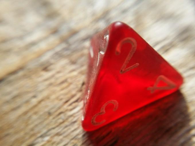 A red semi-transparent D4 set to a 2