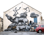 This is amazing urban wall art in the U.K. called the Four Horsemen.