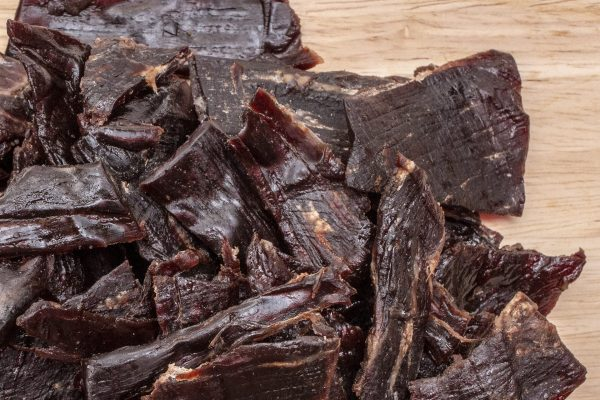sweet and spicy beef jerky closeup