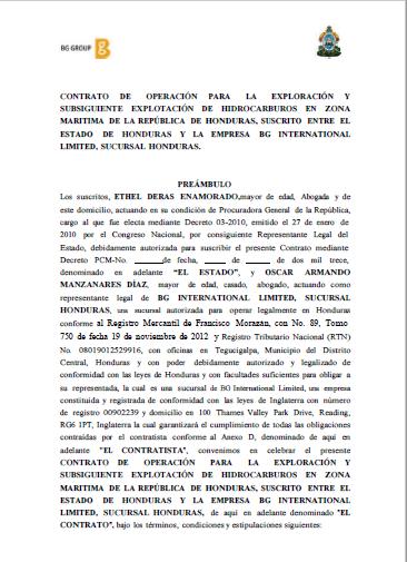 Contrato de la Concesión de Exploración y Explotación de Petróleo en Honduras