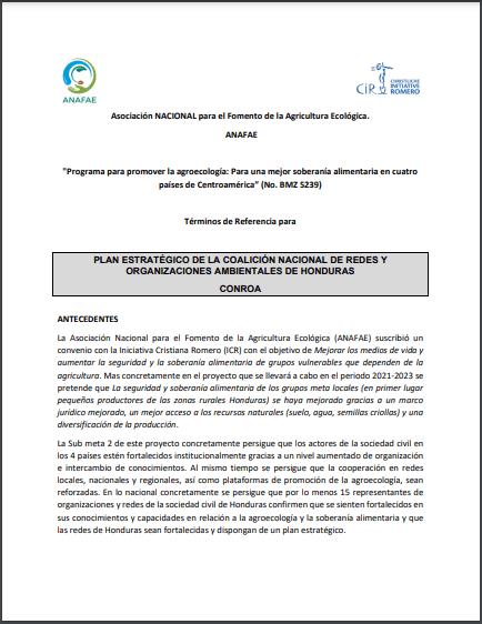 Términos de Referencia para: Plan Estratégico de la Coalición Nacional De Redes y Organizaciones Ambientales de Honduras CONROA