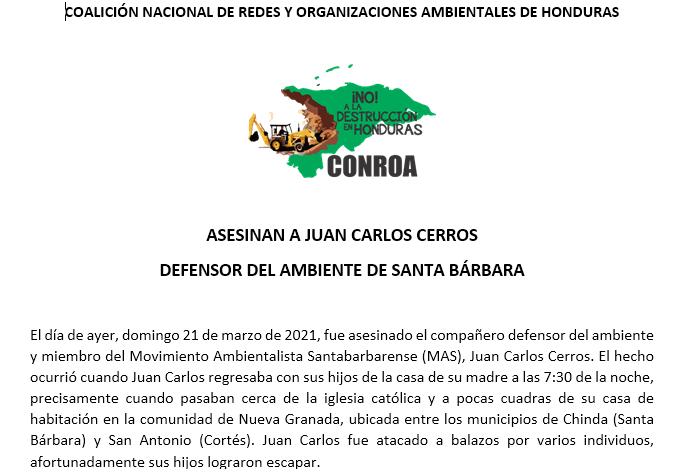 ASESINAN A JUAN CARLOS CERROS DEFENSOR DEL AMBIENTE DE SANTA BÁRBARA