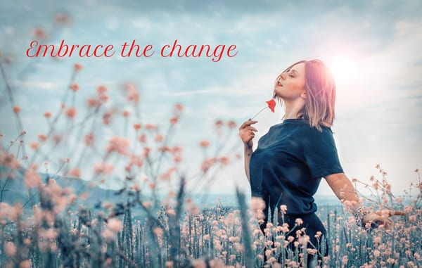 make that change woman in flowers image