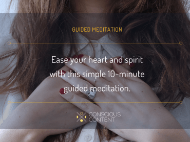 Redheaded woman with hands over heart | guided heart meditation | Conscious Content