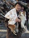 Japan earthquake man with dog