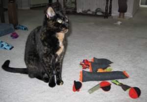 Allegra with Halloween toys