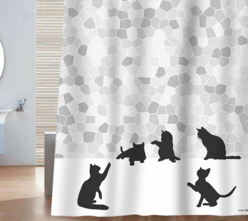 black cat shower curtain - Cat Curtains