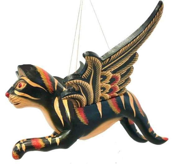 winged-cat-carving
