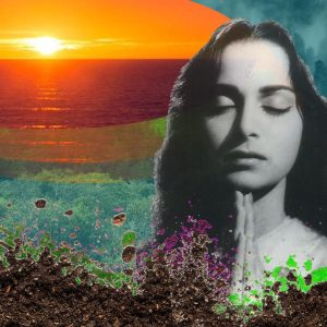 connect with nature. collage with trees, soil, sunrise and eyes closed.