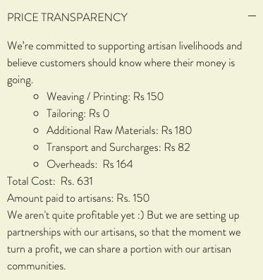 Price breakdown of a simple t-shirt by brand Tamarind Chutney