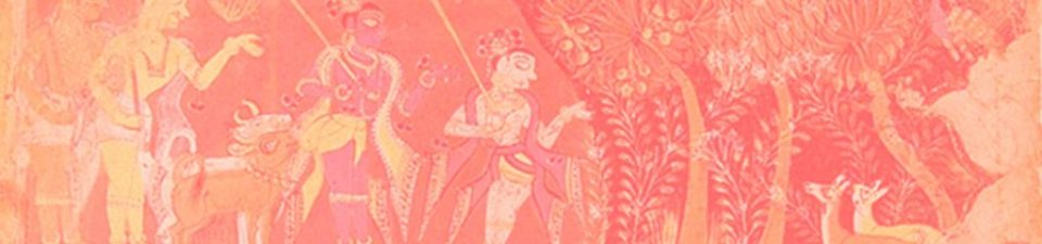 Sustainability in Indian culture. Ancient Indian painting showing human living in harmony with nature and animals