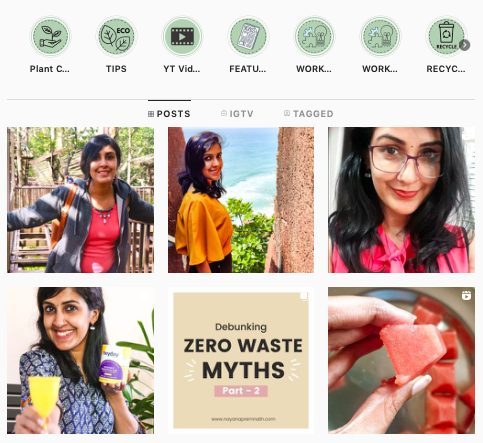 Screen grab of Zero-waste influencer Nayana Premnath's Instagram profile.