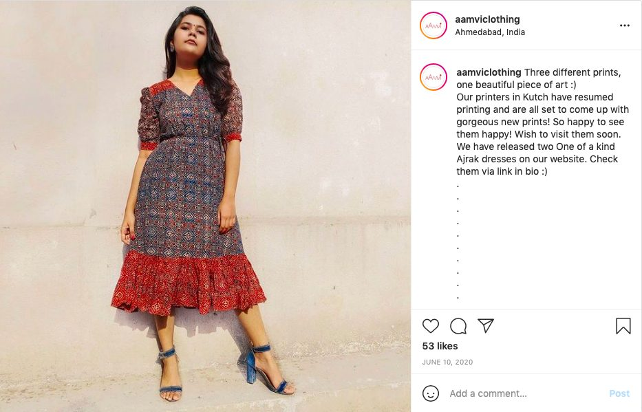 Kutch printed dress by Aamvi Clothing