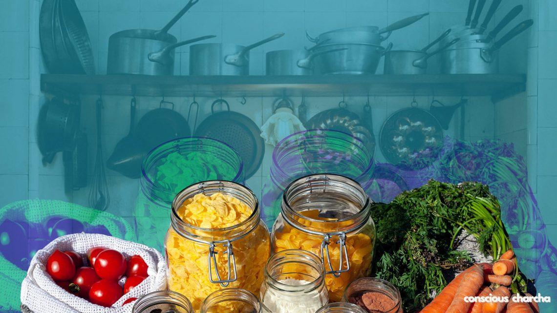 plastic free kitchen - utensils, cloth bags, glass jars for food storage.