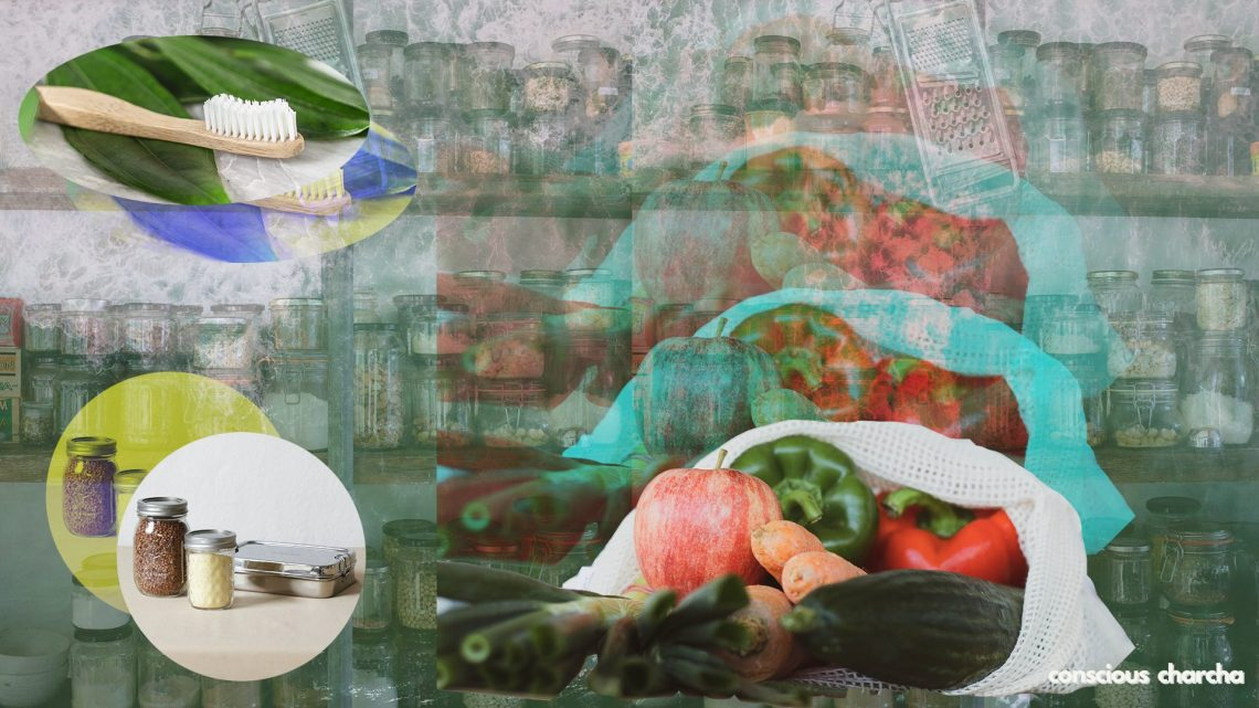 plastic free swaps - cloth bag, bamboo toothbrush, glass jars and steel containers.