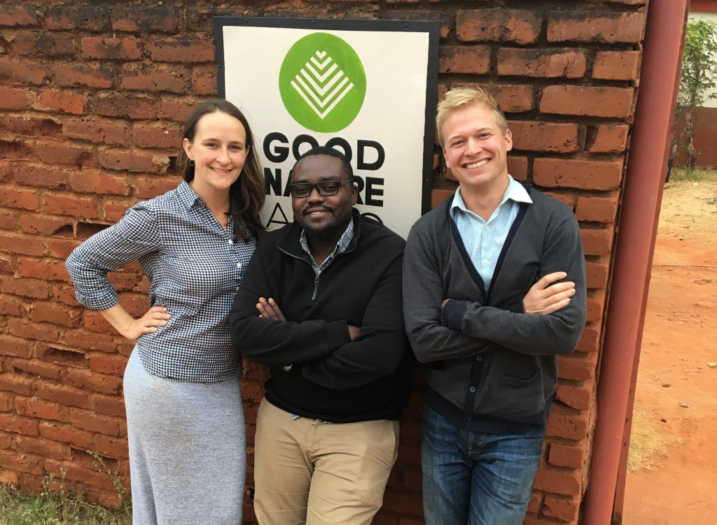 Sunday Silungwe, Carl Jensen, Kellan Hayes, co-founders of Good Nature Agro, an organization whose priority is the generate lasting income with small-scale farmers.