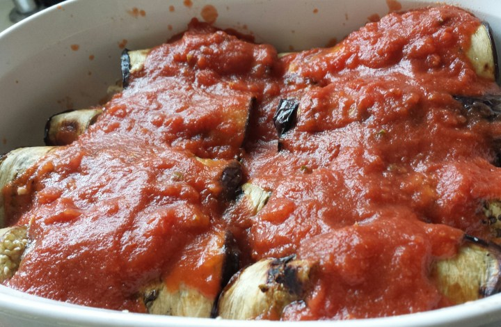 Grilled & Stuffed Eggplant Marinara