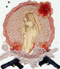 'Sweet Finger' (n.d). Machine sewing on fabric, lace, mixed media