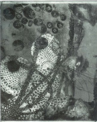 VickyRussell 'Haberdash' 2014. Photopolymer Etching on wet strength paper