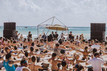 Beachside yoga. Sundara 2019, Riviera Maya, Mexico.