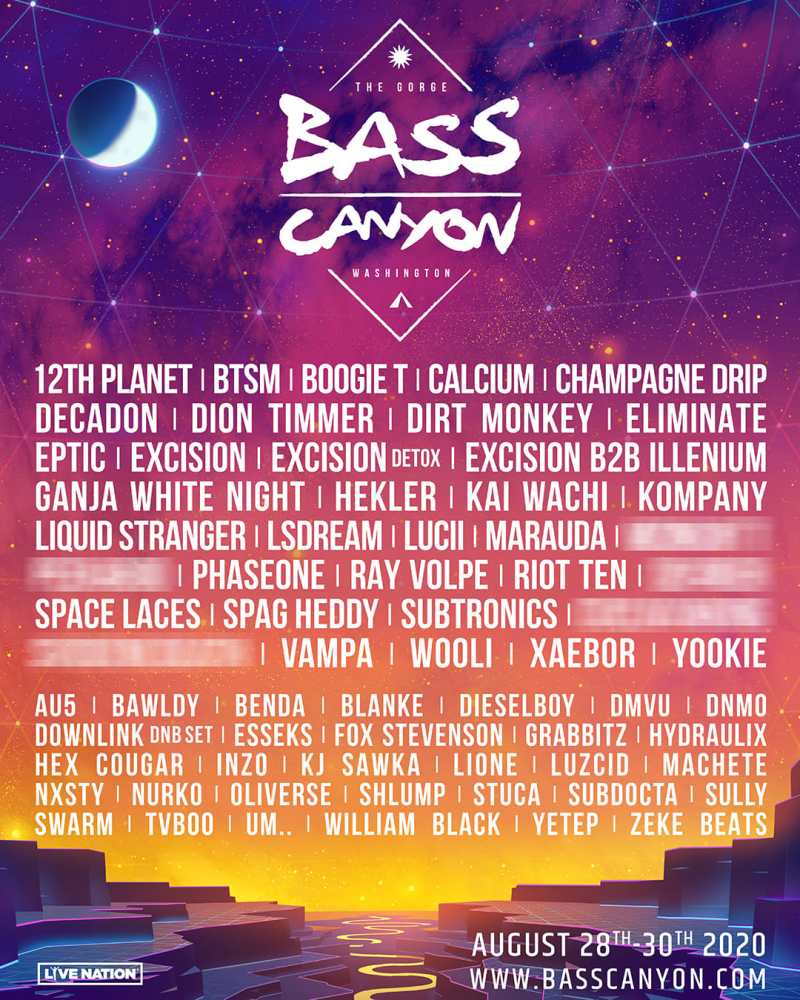 Excision's Bass Canyon 2020 festival line up at The Gorge