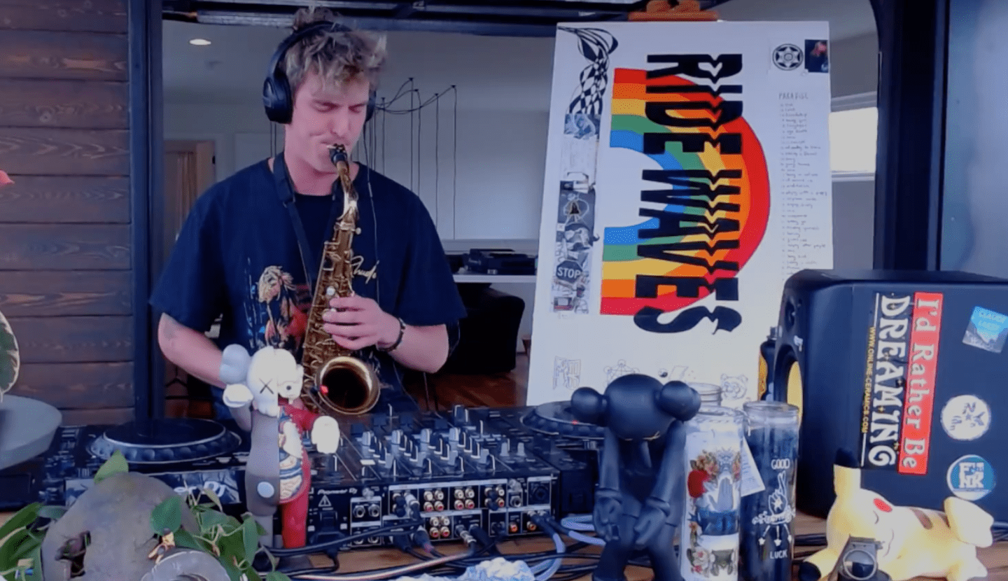 Griz plays sax live from home garage in Denver
