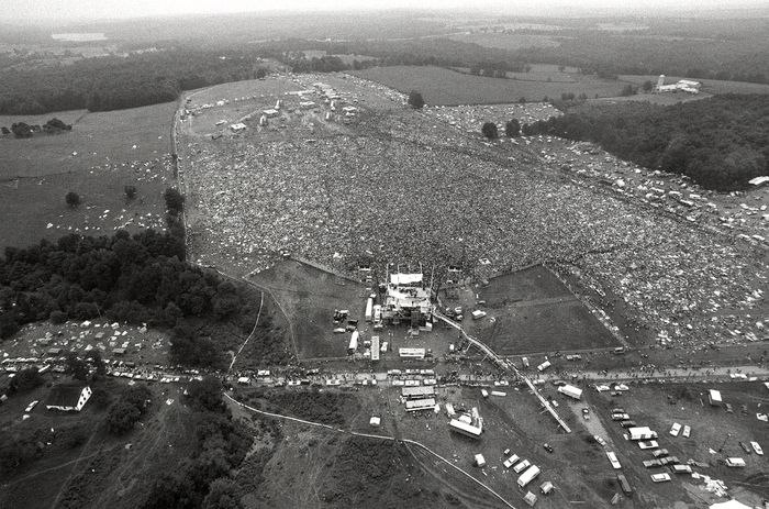 About 400,000 people attend the Woodstock Music and Arts Festival in Bethel, N.Y., August 16, 1969.