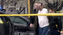 In this April 13 file image taken from video provided by KCTV-5, Frazier Glenn Cross is arrested in an elementary school parking lot in Overland Park, Kan. He later was charged with killing three people at two Jewish-affiliated facilities. AP/KCTV-5, File