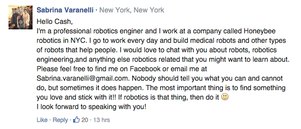Caen received lots of written support -- like this one from a female robotics engineer. Photo: Cash Cayen/change.org