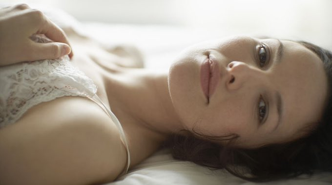 sensual woman on bed