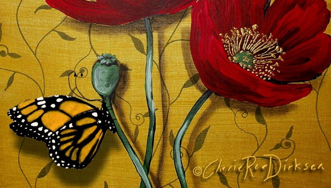 Red poppies and butterfly by Cherie Roe Dirksene