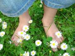 barefoot in nature