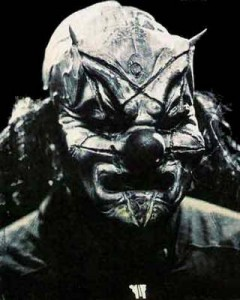 Slipknot singer wearing a clown mask with upside down pentagram carved into it - a recipe for nightmares?