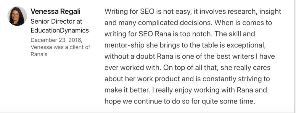 Testimonial about SEO writing and my drive to improve