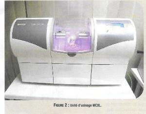 Cette machine usine directement la pièce prothétique qui vq être posée en bouche CEREC MCXL
