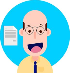 histoire d'entrepreneur_dessin d'un homme chauve à lunettes.