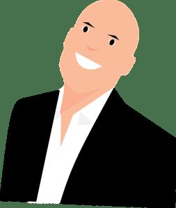 confiance en soi storytelling _ dessin d'un homme en cravate qui sourit