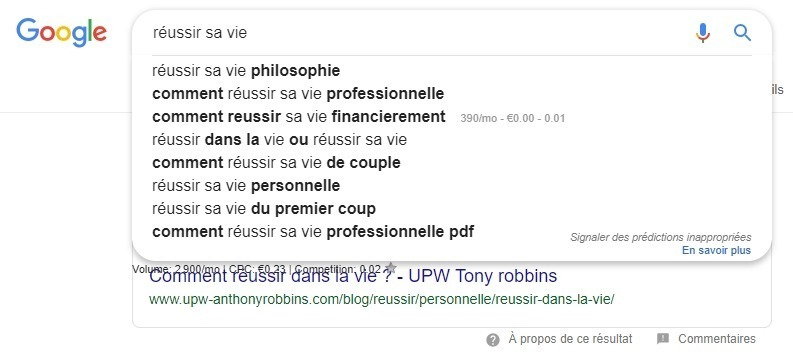 comment réussir une rédaction web - capture écran d'une requête Google