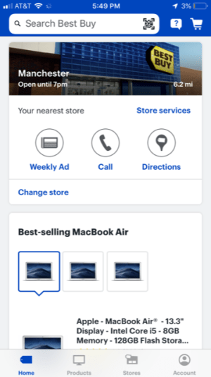 Best Buy mobile app shows local store details