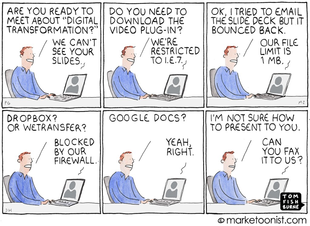 Cartoon that illustrates how someone cannot present about digital transformation due to digital barriers.