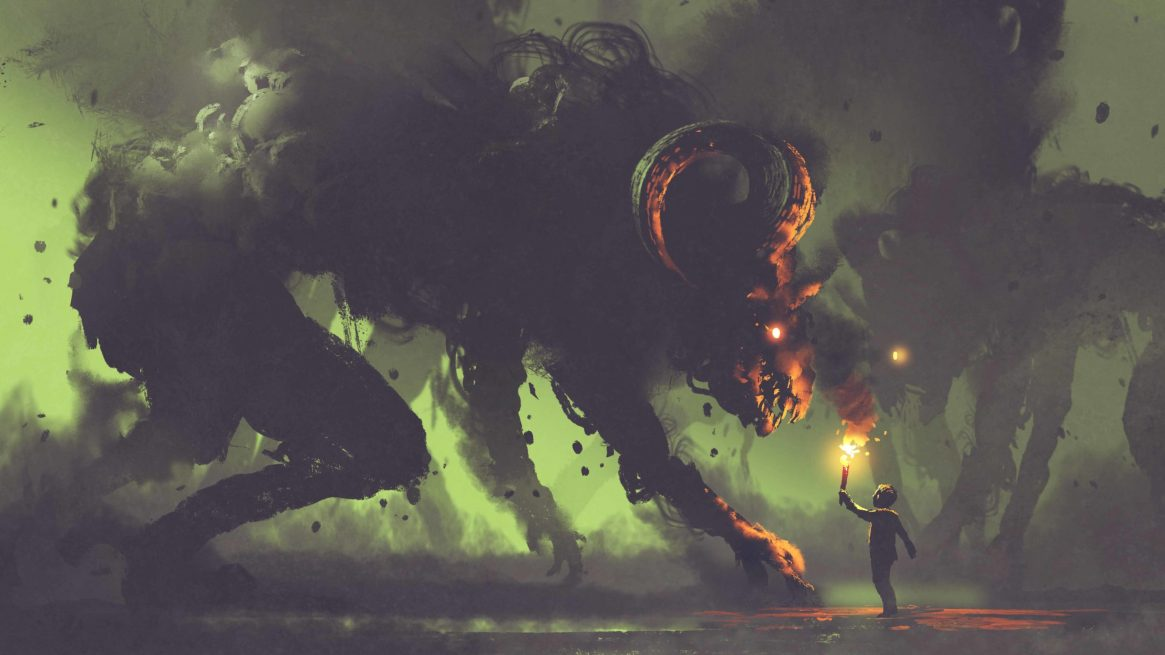 dark fantasy concept showing the boy with a torch facing smoke m